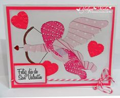 """El Universo Creativo de Tita: Reto #2 Latinas Arts & Crafts: 3 corazones y 4 colores utilizando set de sellos @Latina Crafter """"feliz día del amor"""""""