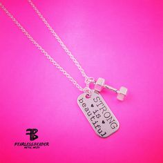 Strong is Beautiful Necklace BJJ Necklace MMA by TheFearlessBeader