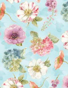Rainbow Seeds - LAST PIECE - Wilmington Prints by Lisa Audit - Supremely Gorgeous! Floral on soft purple Small White Flowers, Purple Flowers, Fabric Wallpaper, Pattern Wallpaper, Floral Fabric, Floral Prints, Cotton Fabric, Decoupage, Aqua Background