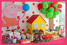 baby first birthday party ideas Pig Birthday, 3rd Birthday Parties, Birthday Party Decorations, Fiestas Peppa Pig, Cumple Peppa Pig, George Pig Party, Peppa Pig Family, Baby Party, Ideas Decoración