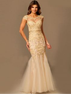 Trumpet/Mermaid Sheer Neck Sleeveless Applique Tulle Floor-Length Dresses