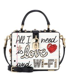 Dolce  amp  Gabbana Dolce Box embellished leather bag Shoulder Handbags, Shoulder  Bags, Leather b6093b948c