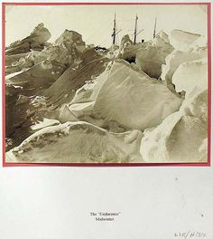 """Photograph: The """"Endurance,"""" Midwinter, 1915/1922: Silver gelatin photograph: Shackleton's Antarctic Expedition 1914-1917; """"The Photographs of Frank Hurley,"""" 2001, p133: """"'Ice breakers, pressure centre, 1st August 1915', wrote Hurley in his Green Album. Often used to illustrate various expedition accounts, this photo is usually titled """"Almost Overwhelmed."""""""