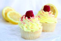 Raspberry Filled Lemonade Cupcakes - cupcake, dessert, lemon, raspberry, recipes, vanilla