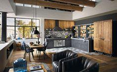 Arredare un open space cucina soggiorno industriale 03