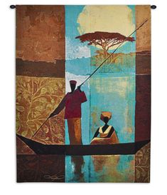 The Fine Art Tapestries On The River I Wall Tapestry is a romantic piece of artwork featuring a gondola boat captain with a woman riding across a gorgeous,. Tapestry Weaving, Wall Tapestry, African American Artwork, African Theme, African Style, Africa Art, Art Techniques, Find Art, Wall Art