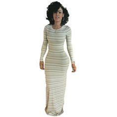 Womens Full Sleeve Casual Striped Long Tee Dresses Maxi Dress For Autumn Spring Fall Winter Female Vestido
