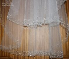 Wholesale -2 layer fingertip bridal veil white or ivory diamond bead wedding veils combs, Free shipping, $28.34-36.58/Piece | DHgate