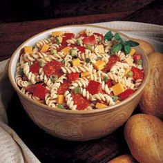 Pizza Pasta Salad  We love this pasta salad.  The home made dressing is simple but oh so good. Enjoy, we do!
