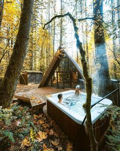 Its a dream of ours to one day own a little cabin in the mountains For now we will play pretend Location Sky Haus Washington sister cabin to tyehaus Oh The Places You'll Go, Places To Travel, Hot Tub Surround, A Frame Cabin, Little Cabin, Destination Voyage, Cabins In The Woods, Cabins In The Mountains, Mountain Cabins