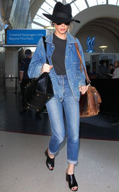 Amber Heard from The Big Picture: Today's Hot Pics Denim dream! The decked out in denim actress arrives to LAX airport in style.