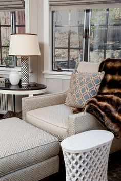 LIVING ROOM - Kravet Spiderweb Moz Side Table; Jamie Young Mughal Quatrefoil Pattern Bone Inlaid Lamp; Pearson Chair and Ottoman; Jamie Young Leather Quatrefoil Pillow; Odegard Carved Marble Quatrefoil Side Table; Liepold Design Group LLC