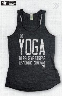 Charcoal/white I do Yoga to relieve stress Eco Tank by everfitte, $26.00