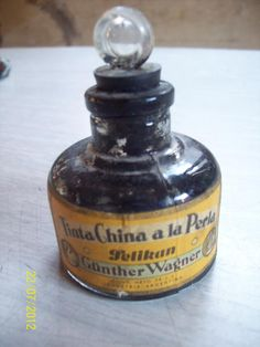 tinta china a la perla con antiguo frasco, de pelikan