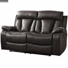 Black Leather Loveseat Sofa Double Glider Recliner Lazy Couch Cup Holder Den Boy