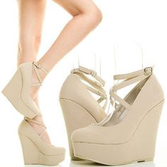 NUDE CLOSED TOE STRAPPY ANKLE STRAP MARY JANE WEDGE PLATFORM HEEL PUMP SHOE SZ 9