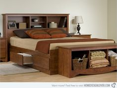 The wood finish of this bed brings in nature's beauty into one's bedroom.