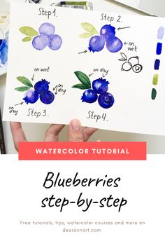 In this watercolor tutorial, you will learn how to paint a berry with watercolor. Click the image or link above to see the full art tutorial. Watercolor Beginner, Watercolor Art Lessons, Watercolor Paintings For Beginners, Watercolor Projects, Watercolour Tutorials, Watercolor Techniques, Painting Tutorials, Watercolor Portraits, Watercolour Step By Step