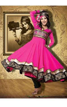 Picture of Glamorous Pink Color Anarkali Salwar Suit Online Shopping