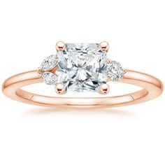 Radiant Cut Bloom Diamond Engagement Ring - 14K Rose Gold