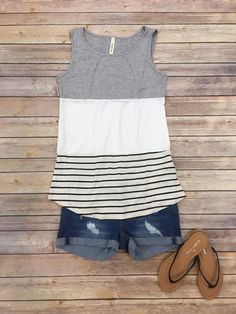 Striped Up In Lace Tank-Heather Grey