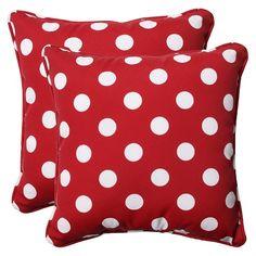 """2-Piece Outdoor Toss Pillow Set - Red/White Polka Dot 18"""""""