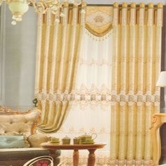 Fresh Splicing Lace Daffodil Chenille Cheap Blackout Curtains (No Valance) 2016 New Arrival