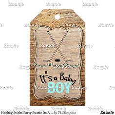 Hockey Sticks Party Rustic Its A Boy Baby Shower Gift Tags Personalize this custom designed baby shower product. This product features crossed hockey sticks with a wood background. Great for a rustic, country hockey themed baby shower. #itsaboy #rustic #hockey #baby #shower