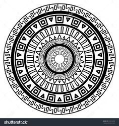 Round geometric pattern of meanders. Composite decorative element of the circles with ornaments. Stencil Tattoo and prints. Easy Mandala Drawing, Simple Mandala, Geometric Patterns, Geometric Designs, Mandala Tattoo, Mandala Art, Soul Tattoo, Stencil, Symbolic Tattoos