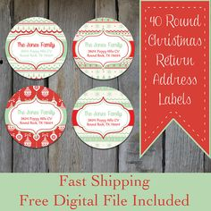 40 Round Christmas Themed Address Labels  Red & by OhBabyStickers