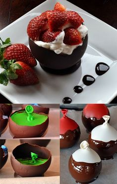 :D Chocolate Bowls. Am I the only one afraid that the chocolate might taste like balloons? Just Desserts, Delicious Desserts, Dessert Recipes, Yummy Food, Dessert Bowls, Breakfast Dessert, Yummy Treats, Sweet Treats, Chocolate Bowls