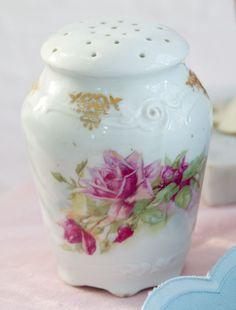 Antique Sugar Shaker ROSES-Antique sugar shaker, shabby chic porcelain,vintage rose collection