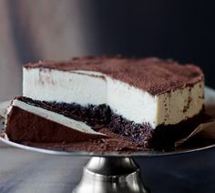 this is a chocolate single layer with mousse but I'd swap that out for marscapone or cream cheese cheesecake