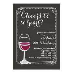 Wine birthday invitation, Cheers to any years! Card