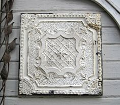 antique tin tile framed 2x2 tin ceiling tile circa 1910 all original paint texas salvage ready to hang - Antique Tin Ceiling Tiles