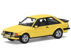The Corgi Ford Escort Mk3 XR3 Prairie Yellow is a superbly detailed diecast model car in the Vanguards Collection.  Ford launched the Mk3 Escort range in 1980 and with it a new performance car, the XR3, designed as a more comfortable fast Ford that would also capture the spirit, and market, of the previous RS cars.