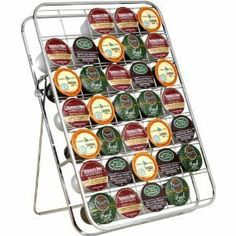 "Universal Keurig K-cup Storage Rack 35 Capacity Can Be Used on Countertop, Inside Drawer or Mount on Wall, Chrome Finish by Keurig. $20.88. Can be used on the countertop, in a drawer or mounted on a wall. Rack does not include K-Cups. 15-1/4"" L x 10-3/4"" W x 2-1/4"" H. Sleek chrome finish. Includes hardware for mounting in wood (for other surface mounting additional hardware may be required). Keep your K-Cups close at hand and displayed so it's easy to find what you'r..."