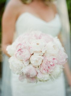 Super lovely light pink bridal bouquet of light pink peonies is a perfect choice for summer wedding