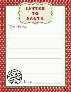 Letter to Santa Free Printable Download Kids Party Craft Idea