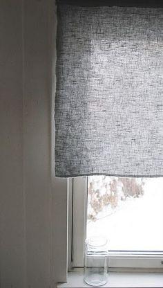 Linen window covering.