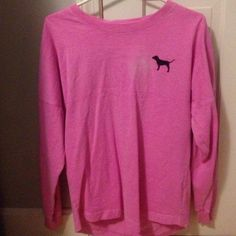 shirt hot pink, pink brand long sleeve shirt. Only worn once and in great condition PINK Victoria's Secret Tops