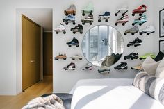 This Artistic Shoe Display Uses $10 Brackets From Amazon