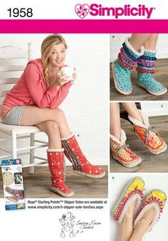 Create fun & funky slippers or indoor booties with misses' slipper soles in three sizes with trim variations.