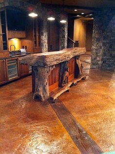 Rustic bar design is a bar designed without too many features that are modern, flashy or decorative. There are few essentials to use and a simple and quite plain style and you create a simple rustic bar. Farmhouse Homes, Rustic Farmhouse, Farmhouse Design, Wood Bar Top, Deco Restaurant, Home Bar Designs, Basement Bar Designs, Stamped Concrete, Decorative Concrete