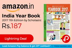 Amazon #LightningDeal is offering India Year Book 2017 7th Edition by Scholastic Just at Rs.187 Only. The 7th edition of this bestselling book is packed with exciting sections ranging from a round-up of the major events of the world and India, to facts about India's states and the world's countries to sports highlights, environment news, developments in the fields of space and science, entertainment and lifestyle news and trends…