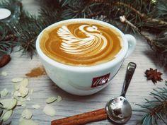 Public Domain Image White Cuccino With Swan Cream Design Picture