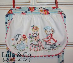 little pumpkin grace: Papa Bear, Mama Bear & Baby Bear {vintage embroidery} Retro Apron, Aprons Vintage, Vintage Handkerchiefs, Embroidery Transfers, Embroidery Designs, Vintage Embroidery, Hand Embroidery, Christmas Embroidery, Sewing Crafts