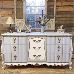 SOLD-French Provincial Dresser w/Mirror by LauraDesignsShop Metallic Painted Furniture, Distressed Furniture, Farmhouse Furniture, Bohemian Furniture, Shabby Chic Furniture, Shabby Chic Homes, Shabby Chic Decor, French Provincial Dresser, French Dresser