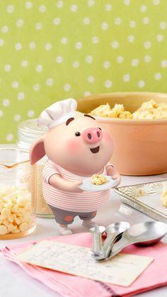 Pig Wallpaper, Snoopy Wallpaper, This Little Piggy, Little Pigs, Cute Rabbit Images, Fat Pig, Pig Illustration, Digital Illustration, Pigs Eating