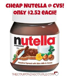 ~*~*~* PRINT NOW*~*~*~ Get CHEAP Nutella @ CVS!! Pay only $2.52 each! Stock up for lunch and snacks for the kids!  Click the link below to get all of the details ► http://www.thecouponingcouple.com/cheap-nutella-spread-cvs-only-2-52/  #Coupons #Couponing #CouponCommunity  Visit us at http://www.thecouponingcouple.com for more great posts!